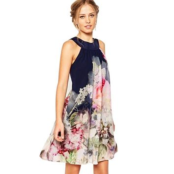 Sundress Spring Summer Beach Boho Floral Party Dress Skirt Mini Sexy