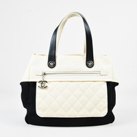 Chanel Cream Quilted Canvas Black Mesh Leather Trim Tote Bag