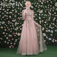 CEEWHY Luxury Prom Dress Real Pictures Evening Dress Long Sleeves Tulle Beading Vintage Formal Dress Embroidery Evening Gown