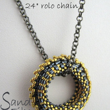 Gunmetal Sawtooth Wheelie Beadwoven Peyote Pendant - Pick your accent color and chain