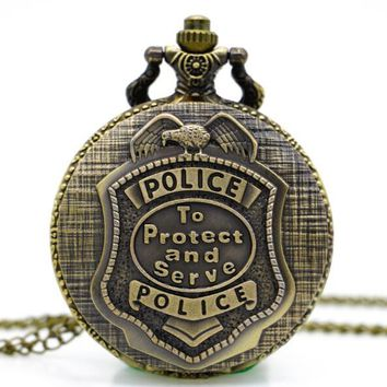 Vintage Bronze Police To Protect And Serve Pocket Watches Women Men Ladiess Kids Steampunk Fob Watch With Chain Pendant