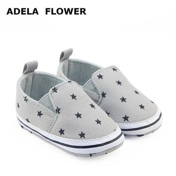 Adela Flower Newborn Baby Boy Shoes Soft Sole Slip-on Toddler Shoes For Boys Cassual Crib Shoes Black Star Gray First Walkers