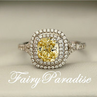 2 Ct  Rectangle Cushion Cut Man Made Yellow Diamond  Tiffany Inspired Double Halo set Split Shank Engagement Wedding Promise Cocktail Ring