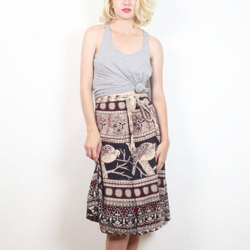 Vintage 1970s Wrap Skirt Navy Burgundy Tan BIRD Batik Print Hippie Skirt 70s Skirt Boho Festival Knee Length Bohemian Skirt S M Medium L