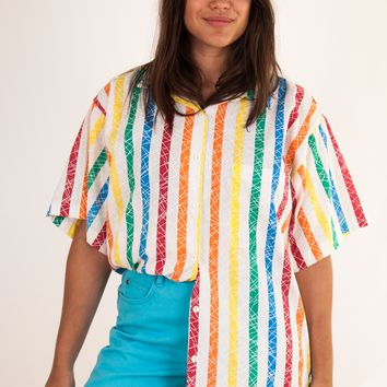 Oversized Rainbow Stripe Shirt