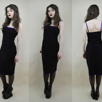 90s Grunge Clueless Black Purple Velvet Spaghetti Strap Beaded Trim Empire Midi Dress M