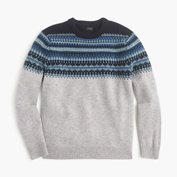 J.Crew Mens Lambswool Fair Isle Sweater In Navy