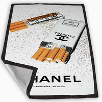 Girly White Glitter Chanel Cigarettes Packet Blanket for Kids Blanket, Fleece Blanket Cute and Awesome Blanket for your bedding, Blanket fleece **