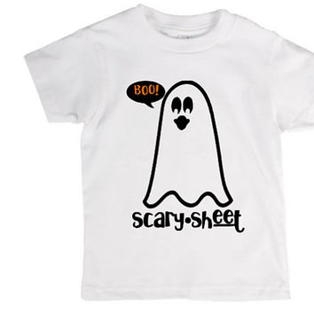 Scary sheet toddler kids shirt, Halloween, ghost, crazy, holiday pun, pun, halloween costume, joke, funny shirt, bad joke, toddler, child