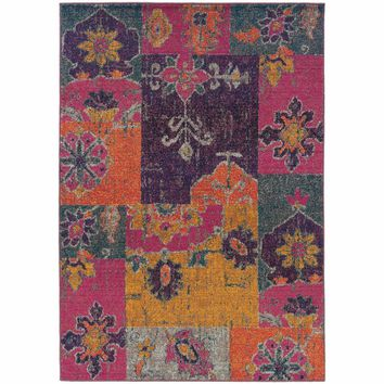 Kaleidoscope Multi Pink Floral Ikat Transitional Rug