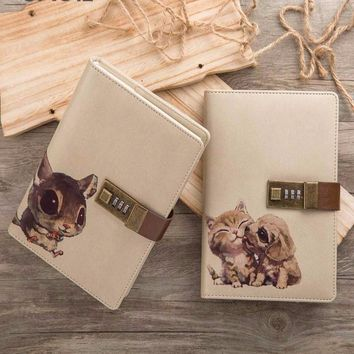 2017 New Agenda Cute with Lock Notebook Kawaii Pet for Creative Travelers Diary Planner
