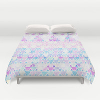 Triangles and triangles Duvet Cover by haleyivers