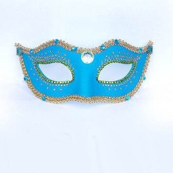 Venetian Mask -  Masquerade Mask - Fabric Covered and Rhinestone Embellished - Turquoise/Green/Gold