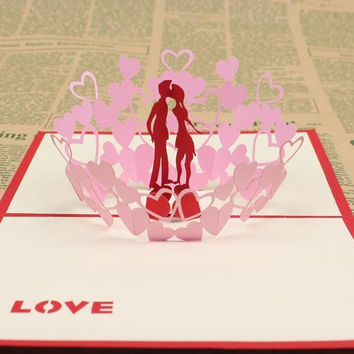 10 sets/lot Decoupage Handmade & Creative Kirigami & Origami 3D Pop UP Gift & Greeting Cards With Lover 3d wedding invitation