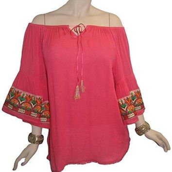 Rayon crape Bohemian Medieval Bell Sleeve Embroidered Rope Tie Tunic Blouse