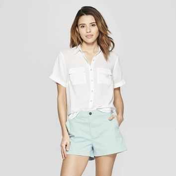 Women's Short Sleeve Button-Down Shirt - A New Day™ White