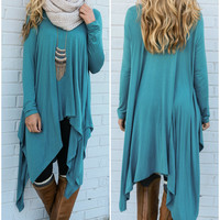 Mountain Breeze Deep Teal Trapeze Tunic with Handkerchief Hem