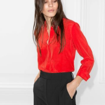 & Other Stories | Collared Silk Shirt | Red