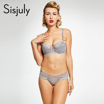 women brief sets lace up underwire bra push up sexy women intimates three quarters cup bra and brief sets