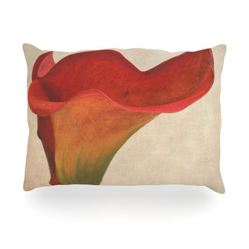 "Iris Lehnhardt ""Calla"" Red Flower Oblong Pillow"