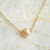 Buttonpearl - pale peach pearl on gold fill chain - simple bridal or everyday jewelry - edor
