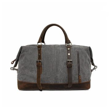 Vintage Military Canvas Leather Big Duffle Bag Men Travel Bags Carry on Traveling Luggage bags Large Road Weekend Bag Tote Men