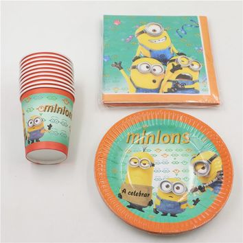 Despicable Me 2 Minions Party Decoration Set Paper Cups+ Plates+ Napkins for Kids Birthday Party set  boy for 12 people