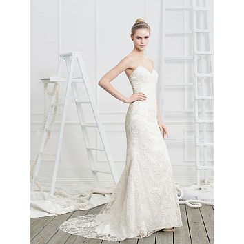 Beloved by Casablanca Bridal Radiance Strapless Sequin Lace Fit & Flare Wedding Dress