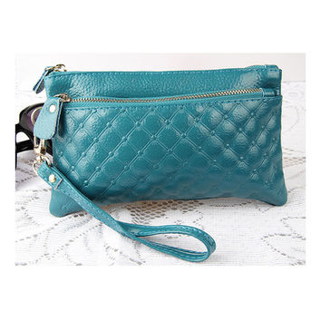 Women Clutch Bags Wallets Genuine Leather Wristlet  leather bags Change Purses  8 colors leather handbags 2033