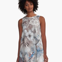 """flowers and birds blue grey #flowers #flora #pattern"" Graphic T-Shirt Dress by JBJart 