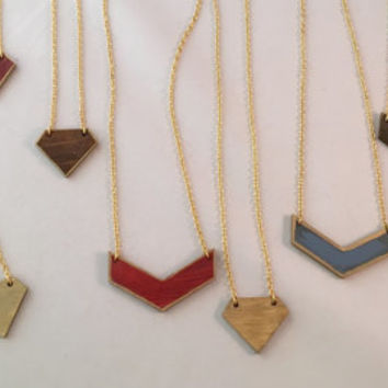 Chevron laser cut wood pendant, hand painted with blue and gold accents  Modern geometric necklace, and gold plated chain. Simple and OOAK