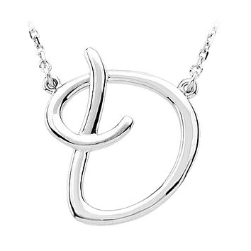 Script initial Necklace in Sterling Silver, Letter D