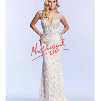 Mac Duggal 82112M Ivory Lace Plunging Neck Dress Prom 2015