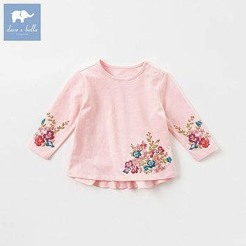 DBA7908 dave bella autumn baby girls floral clothes children long sleeve t-shirt infant toddler high quality tops kids cute tees