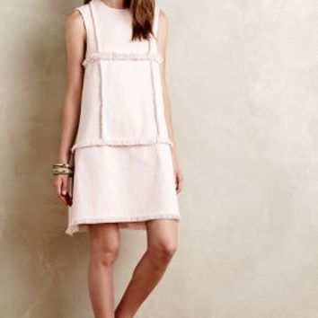 Fringed Denim Shift Dress by Megan Swansen Pink