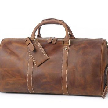 BLUESEBE HANDMADE VINTAGE LEATHER DUFFLE BAG WITH SHOES COMPARTMENT S12026