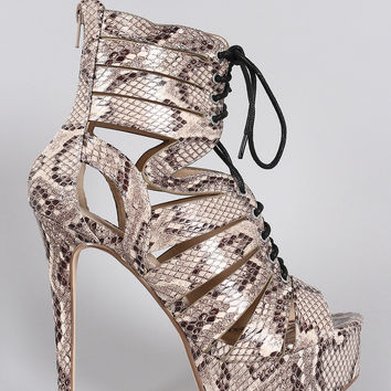 Anne Michelle Python Caged Lace Up Platform Heel