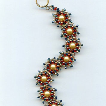 Handcrafted Bracelet Gold Filled Clasp Hand stitched with Swarovski Pearls and Seed Beads