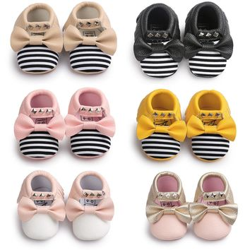 Latest Rivet Tassel Baby Moccasins Slippers Stud Shoes Butterfly Knot Baby Princess Sh