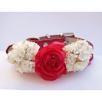 Red Floral Wedding dog Collar, Pet wedding accessory