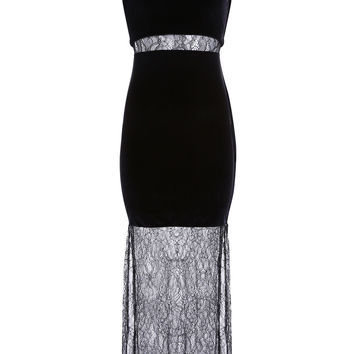 Black Mesh & Velvet Party Maxi Dress
