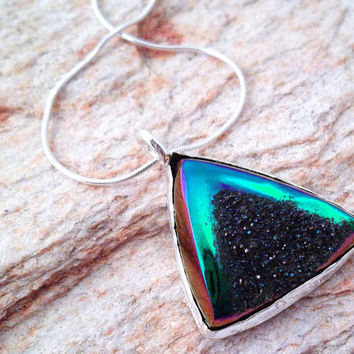 Druzy Necklace, Amazing Rainbow Druzy Jewelry, Star Trek Insignia Like Pendant