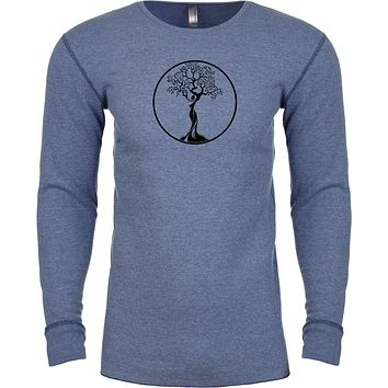 Yoga Clothing For You Black Tree of Life Circle Long Sleeve Thermal Yoga Tee