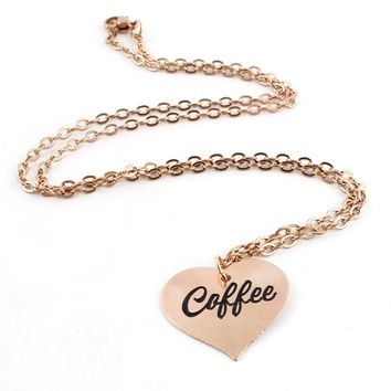 Coffee Heart Pinup Necklace
