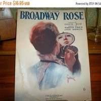 Broadway Rose Antique Sheet Music Vocal Piano Love Song Vintage 1920 Fred Fisher Publisher FREE SHIPPING