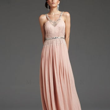 Powder Pink 1930's Style Grecian Silver Beaded Elegant Prom Dress - Unique Vintage - Cocktail, Pinup, Holiday & Prom Dresses.