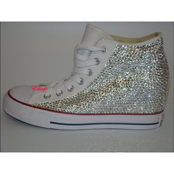 Wedge Converse Clear Sparkled Rhinestones Chucks 1ecd08a0a