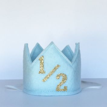 Light Blue and Gold 1/2 Birthday Crown/ 1/2 Birthday Crown