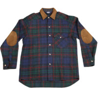 Mo Vintage Woolrich Flannel with Elbow Patches - Plaid Green