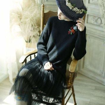 DCCKON3 lynettes chinoiserie  women vintage lace patchwork embroidery mori girls sweater dresses